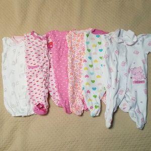 6 Newborn Carter's girl footies and sleepwear